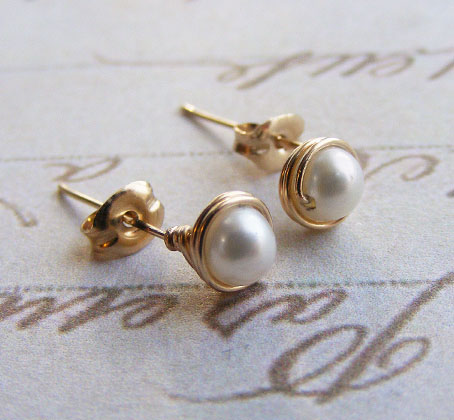 gold filled wire wrap pearl earrings studs 3